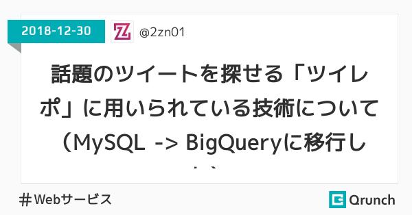 話題のツイートを探せる「ツイレポ」に用いられている技術について(MySQL -> BigQueryに移行した)