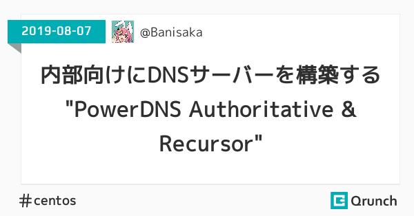 """内部向けにDNSサーバーを構築する """"PowerDNS Authoritative & Recursor"""""""