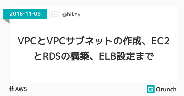 VPCとVPCサブネットの作成、EC2とRDSの構築、ELB設定まで